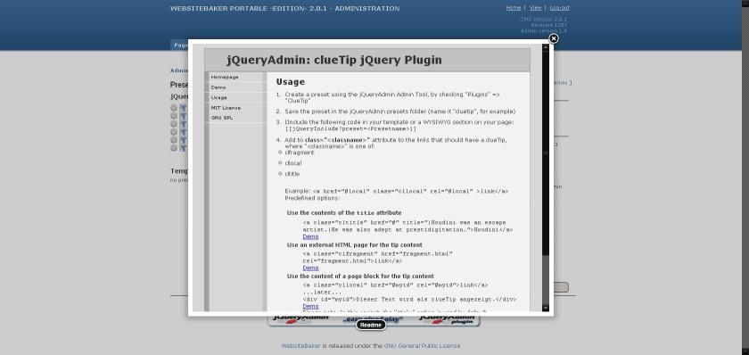 BlackBird Webprogrammierung   Websitebaker / Verwendung